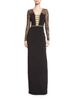 Lace-Sleeve Deep-V Gown, Black