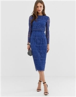 ASOS DESIGN lace long sleeve midi pencil dress at asos.com