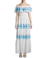 Greek Isles Off-The-Shoulder Maxi Dress, White