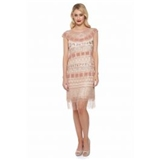 Beverley Vintage Inspired Fringe Flapper Dress in Champagne Blush
