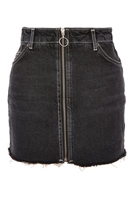 PETITE Zip Through Denim Mini Skirt