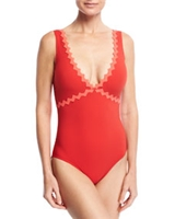 New Wave V-Neck Silent Underwire One-Piece Swimsuit