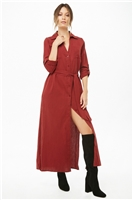 Patch-Pocket Maxi Shirt Dress