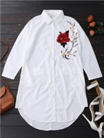 Zaful Floral Embroidered Tunic Shirt