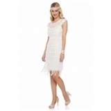 Beverley Vintage Inspired Fringe Flapper Dress in Off White