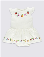 Pure Cotton Embroidered Bodysuit Dress