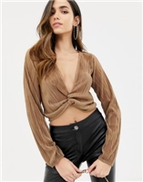 ASOS DESIGN wrap top with plunge twist front in plisse with long sleeve at asos.com