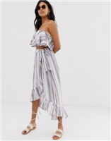 ASOS DESIGN woven stripe frill beach sarong two-piece skirt at asos.com