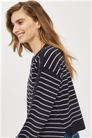 Asymmetric Hem Stripe Sweater