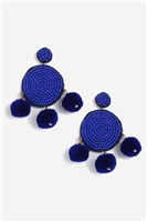 Blue Pom and Bead Earrings - Jewelry - Bags & Accessories